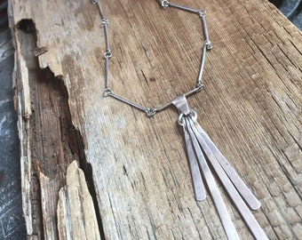 vintage sterling silver dangle pendant necklace, antique sterling finish necklace, modern sterling necklace, gift for her, sterling jewelry