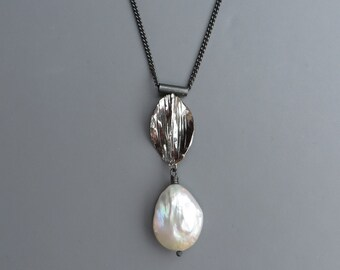 Natural Baroque White Pearl Black Silver Necklace