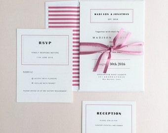 Modern Cranberry Wedding Invitations Suite, Elegant  Wedding Invitation Set, Marsala, Wine, Champagne Wedding Invitation with RSVP