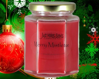 Merry Mistletoe Christmas Candle - Homemade Blended Soy Candles - Holiday Scent Collection