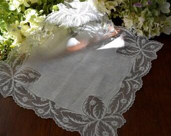 Mouchoir de mariage lin ivoire Vintage, dentelle filet 3449