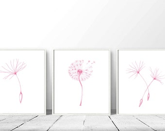 Printable girl room decor, nursery wall art pink flower, baby girl gift, botanical art print for her, instant download kids room print set