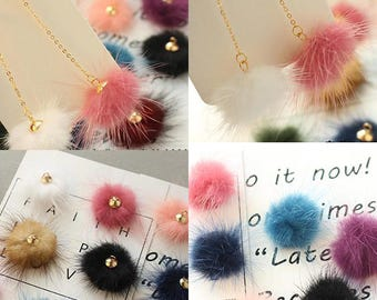 5pcs Fur Ball Charm Pom Pom Charms Pom Pom Earrings Necklace Pendant Small Pom pom DIY Jewelry Accessories Findings Pom Jewelry Supplies