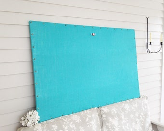 "Huge X-Large Burlap MAGNETIC Bulletin Board - 34 x 52"" Turquoise Beach Blue with Hardwood Construction, Brass Upholstery Tacks Button Magnet"
