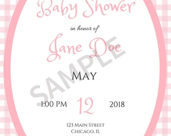 Pink Gingham Baby Shower