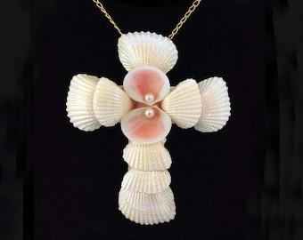 Shell Pendant Necklace, Shell Cross, Crucifix Necklace, Beach Jewelry, Christian Cross, Christian Jewelry