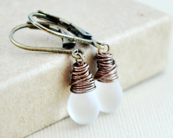 Frosted White Glass Earrings Antiqued Brass Smooth Beads Leverback Earwires Wire Wrapped Jewelry