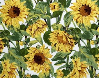 LEE JOFA KRAVET Sunflowers Galore Cotton Fabric 10 Yards White Green Yellow Brown