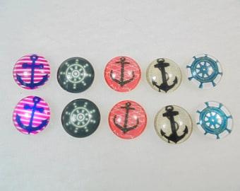 10 cabochons, glass, 12 mm, mixed Maritim,