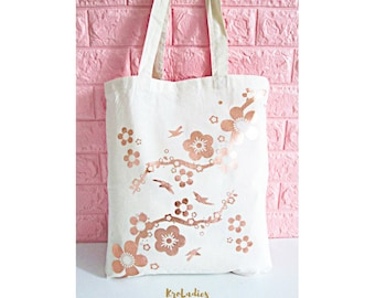 Tote bag ecru, copper, sakura, cherry blossom - cotton bag, tote bag, shopping bag, bag, birthday gift, mother's day