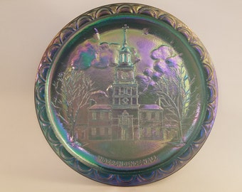 Indiana Glass Bicentennial Carnival Glass Plate - Independence Hall - Blue