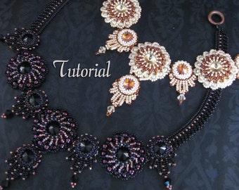 Tutorial for beadwoven necklace 'Sahara Sunset' - PDF beading pattern - DIY