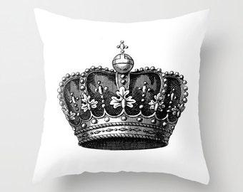 Royal Crown Pillow  - Vintage Crown Throw Pillow - Crown Novelty Pillow - Crown Decor - Black and White Pillow - Aldari Home