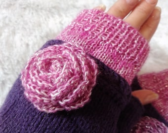 Unusual Fingerless Mittens Knitted Gloves