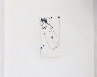 Drypoint Nude print, original intaglio print, drypoint and carborundum print, editioned art, printmaking