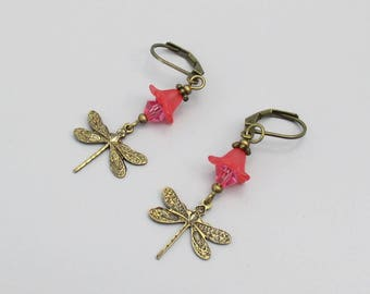 Earrings, Dragonfly, Bronze Drop with Pink Swarovski Crystal