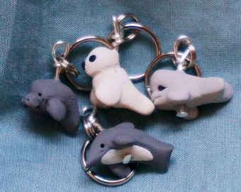 Marine Mammal Stitch Markers Manatee Dolphin Harp Seal Beluga Whale Miniature Polymer Clay Knitting Tools Accessories set of 4