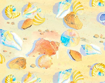 3 WIshes By The Sea Digital Multi Shells Digitally Printed fabric - 1 yard - Limited Quantity