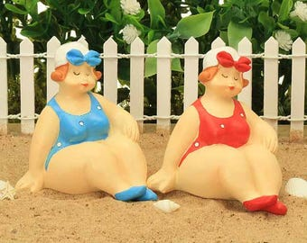 Beach Beauties, Fat Ladies, Ladies in Beach Wear, Sunbathing Ladies, Whimsical Fairy Garden, Fairy Garden Accessory, Cake Topper