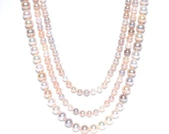 Multicolor Opera Length Pearl Knotted Layered Necklaces