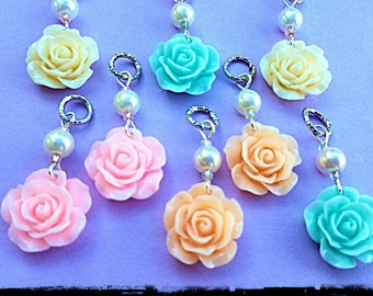 Hearing Aid Charms:  Spring Pastel Roses with Glass Pearl Accent Beads!  Available in 5 beautiful colors!  Great for Easter Dresses!