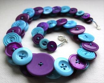 Aquamarine and Purple Button Necklace Button Jewellery Button Jewelry UK Handmade Free UK Shipping