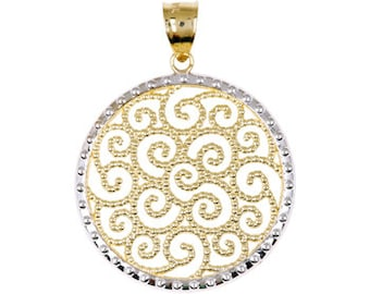 14k gold two tone round pendant.