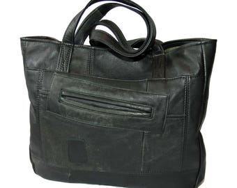 Distressed Black Leather Upcycled Tote Bag, Handbag with Pockets