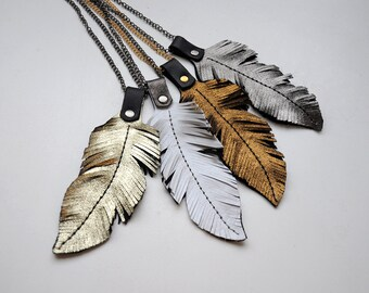 Leather feather necklace, Long statement boho necklace, Reversible gold and black leather necklace