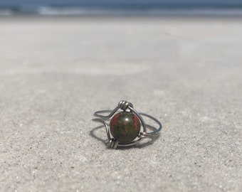 Green and Red marbled wire wrapped ring