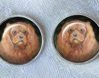 Ruby Cavalier King Charles Post Earrings ~ Original Art ~ Cavi Earrings ~ Pet keepsake ~ Dog Earrings ~