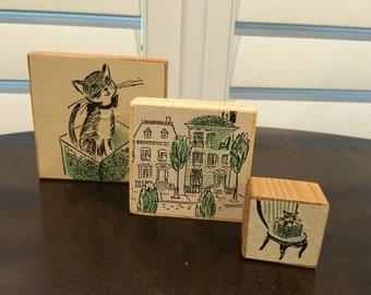 3 Vintage Print Art Blocks Wood Print from 1960 Childrens book