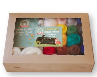 Complete Needle Felting Starter Kit| Classic Tones | Felting Tools + Wool Roving 20 Colors + Beginner's Guide | Best Gift Set for Crafters