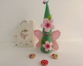 Pink Flower Fairy Peg Doll Gnome
