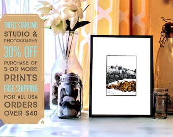 SALE // SNOW Watch Tower- Copper Mining Wall Art Fine Art Black and White Nature Photography Print