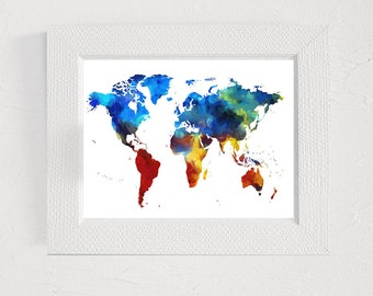 Nursery map print World map print digital Invitation clipart t-shirt design printable Wall art decor Abstract painting Wall art printable