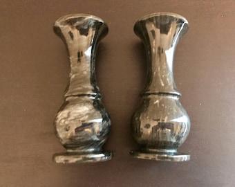 Pair of Vintage Small Black Marble Bud Vases