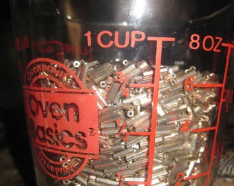 Old Factory Stock Silver Glass Bugle Beads