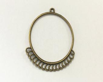 12pcs Antique bronze circular pendant charm connector 39mm