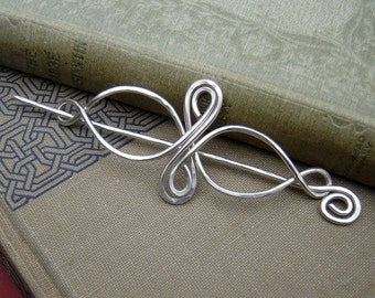Sterling Silver Celtic Infinity Loops Shawl Pin, Hair Pin, Scarf Pin, Long Hair Accessories, Silver Pin Barrette, Hair Slide, Knitting Women