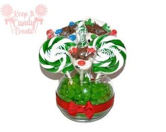 Lollipop Christmas Reindeer Centerpiece, Reindeer Candy Centerpiece, Christmas Lollipop Centerpiece, Hostess Gift, Secret Santa