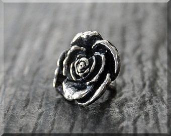 Sterling Silver European Style Rose Charm, Handmade Slide Charm, Personalized Flower Charm, Big Hole Bead, Botanical Slider Charm