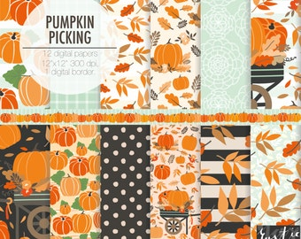 Thanksgiving digital paper. Autumn decoration, fall, pumpkin picking, flowers, fall leaf, harvest, wagon digital paper pack.