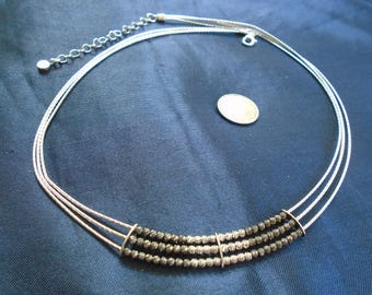 """Italy Omega Chain With Quartz Beads 12.7g Adjustable Sterling Silver Necklace (19.25"""")"""