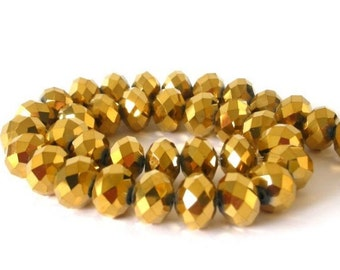 25 tiny gold metallic beads, 6mm gold Chinese crystal rondelles