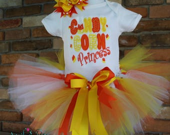 Candy Corn Princess,Orange Yellow tutu,Candy Corn Cutie,Holiday Outfit,Personalized outfit,Thanksgiving,Halloween,Fall,Autumn,Hairbow,Candy