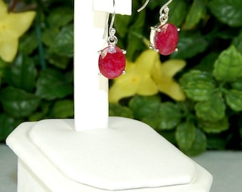 Ruby Earrings, Raspberry Red, Natural Ruby, Ruby Dangles, Sterling Silver, July Birthstone, Red Ruby Earrings, Oval Ruby Dangles