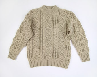 VINTAGE Sweater Womens Cable Knit Sweater 1980s Beige