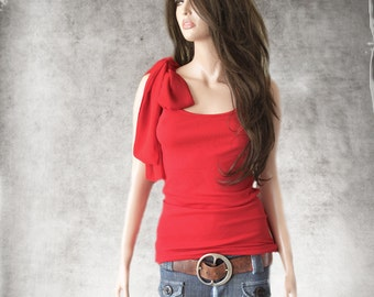 Red tank top/Chiffon shoulder Bow adjustable/Sleeveless women tee