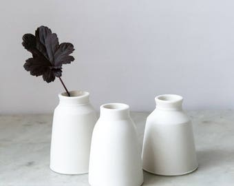 unique ceramic bud vase in wheel-thrown, diamond-polished porcelain with a white glazed interior mini milk churn Elisabeth Barry Ceramics